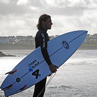 Surfer, surfboard, winter surf, sea, water, wetsuit